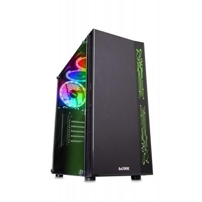 1stCOOL skříň RAINBOW 1 EVO ARGB Strip + Fan, middle tower, AU, USB3.0, bez zdroje, průhledná bočnice, černá