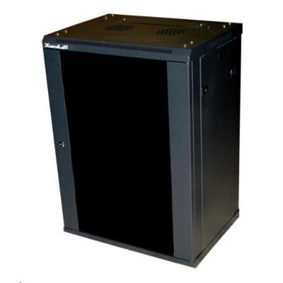 """XtendLan 19"""" jednodílný nástěnný rozvaděč 12U, dodáván rozložený,hloubka 450mm, kouřové sklo,nosnost 60kg,černý"""