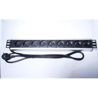 "PremiumCord Panel napájecí do 19"" racku 1.5U, 9x230V, 2m kabel"