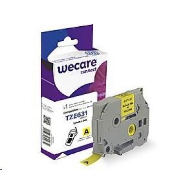 WECARE ARMOR páska pro BROTHER TZE-631(TZE631), černá/žlutá, 12mm x 8m