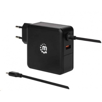MANHATTAN USB nabíječka Power Delivery Wall Charger with Built-in USB-C Cable – 60 W, černá