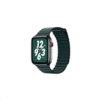 COTEetCI kožený magnetický řemínek Loop Band pro Apple Watch 42 / 44mm tmavě zelený