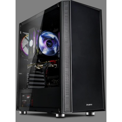 ZALMAN skříň R2 Black - middle tower, ATX,1x120mm RGB fan, USB 3.0 a 2.0, bez zdroje,tvrzené sklo, průhl. bočnice, černá