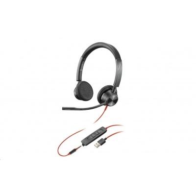 POLY náhlavní souprava BLACKWIRE 3325 MS, USB, 3,5 mm jack, stereo