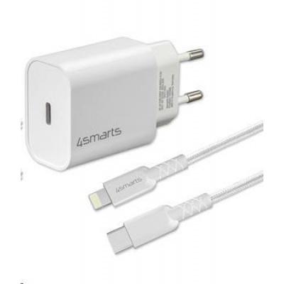 4smarts rychlonabíječka do sítě VoltPlug 20W PD s USB-C -> Lightning MFi kabelem 1,5m, bílá