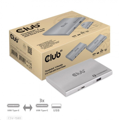 Club3D Rozbočovač Thunderbolt 4 Portable 5-in-1 Hub with Smart Power