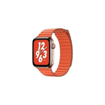 COTEetCI kožený magnetický řemínek Loop Band pro Apple Watch 38 / 40mm oranžový