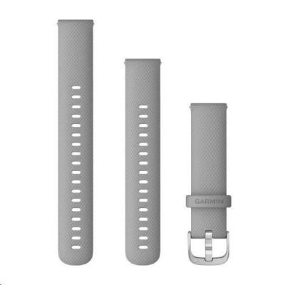 Garmin řemínek Quick Release 18mm, silikonový šedý, stříbrná přezka