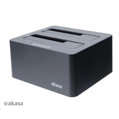 """AKASA HDD box DuoDock X3 HDD/SSD, USB 3.1, 2.5"""" a 3.5"""", pro 2 disky současně"""