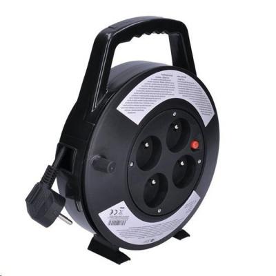 Solight prodlužovací přívod na bubnu, 4 zásuvky, černý, 10m