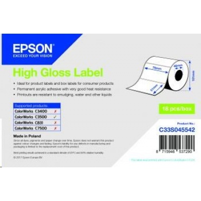 Epson label roll, normal paper, 76x51mm