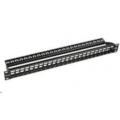 Solarix 10G modulární neosazený patch panel 24 portů STP černý 1U SX24M-0-STP-BK