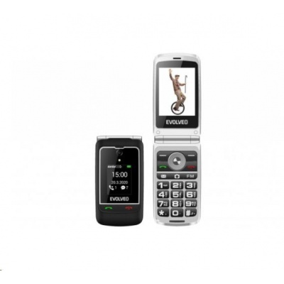"""EVOLVEO EasyPhone FG, vyklápěcí mobilní telefon 2,8"""" pro seniory s nabíjecím stojánkem, černá"""
