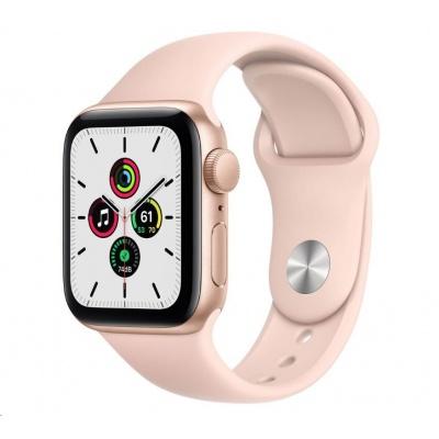 APPLE Watch SE GPS, 44mm zlaté hliníkové pouzdro + pískově růžový sport řemínek