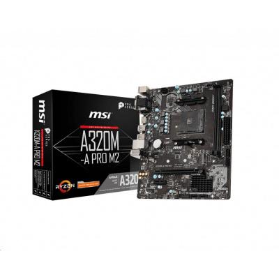 BAZAR - MSI MB Sc AM4 A320M-A PRO M2, AMD A320, VGA, 2xDDR4, m-ATX - repair (bez příslušenství)