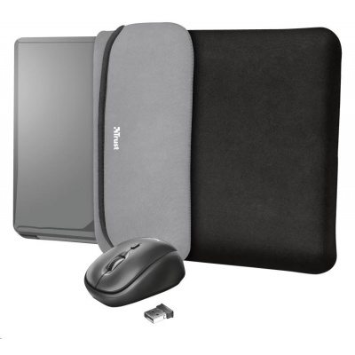 """TRUST myš + obal na notebook Yvo Reversible 15.6"""" Laptop Sleeve and Wireless Mouse - Black"""
