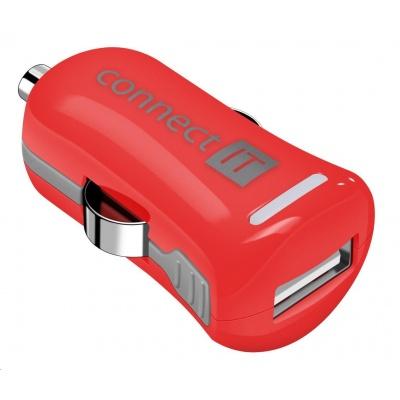 CONNECT IT InCarz COLORZ nabíječka do auta 1xUSB 2,1A, červená (V2)