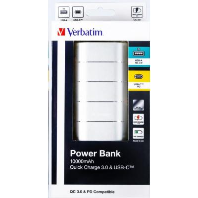 VERBATIM Powerbanka 10000mAh Quick Charge, 2xUSB-A QC 3.0 a 1x USB-C, kovová