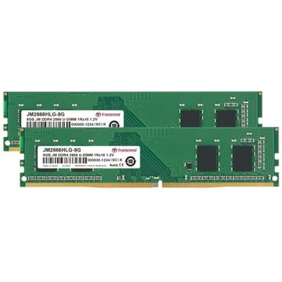 DIMM DDR4 16GB KIT (2x8GB) 2666MHz TRANSCEND 1Rx16 1Gx16 CL19 1.2V
