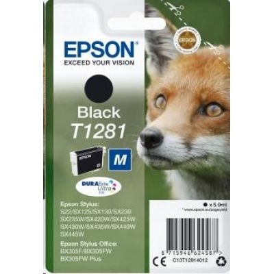 "EPSON ink čer Singlepack ""Liška"" Black T1281 DURABrite Ultra Ink (5,9 ml)"