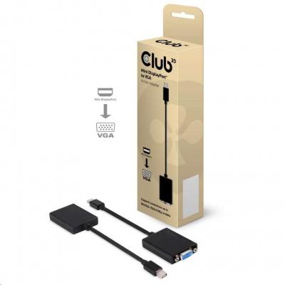 Club3D Adaptér aktivní mini DisplayPort 1.1 na VGA (M/F), 18cm