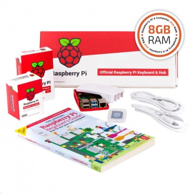 Raspberry Pi 4B/8GB Desktop Kit, malinový/bílý