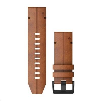 Garmin řemínek pro fenix6X - QuickFit 26, kožený, hnědý, černá přezka