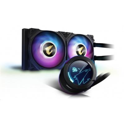 GIGABYTE vodní chladič AORUS WATERFORCE X 240, 120 mm ARGB, LCD displej