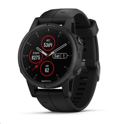 Garmin fenix5S Plus Sapphire Black, Black Band, Performer TRI Bundle