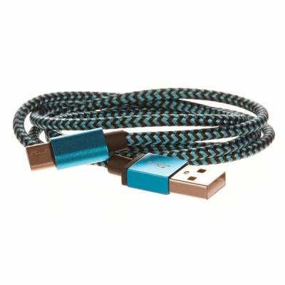 CELLFISH pletený datový kabel z nylonového vlákna, USB-C, 1 m, modrá