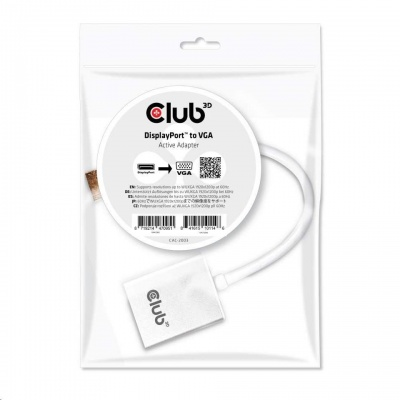 Club3D Adaptér aktivní DisplayPort na VGA (M/F), 25cm