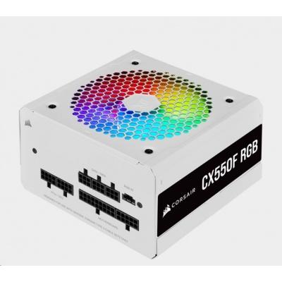 CORSAIR zdroj, CX550F 80+ Bronze modulární RGB, 120mm ventilátor (ATX, 550W), bílá