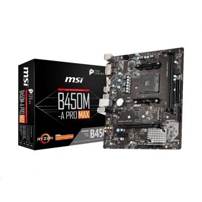 MSI MB Sc AM4 B450M-A PRO MAX, AMD B450, 2xDDR4, VGA, mATX