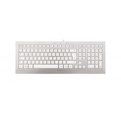 CHERRY klávesnice STRAIT 3.0, USB, EU, stříbrno-bílá
