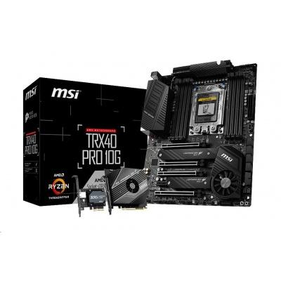 MSI MB Sc sTRX4 TRX40 PRO 10G (AMD TRX40, 8xDD4) součástí balení M2 karta a 10G síťová karta