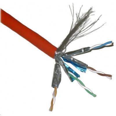 FTP kabel PlanetElite, Cat6A, drát, 4pár LS0H, Dca, oranžový, 100m