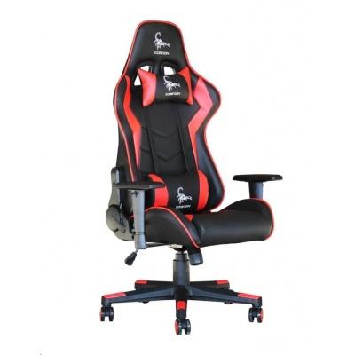 GEMBIRD Gaming chair / herní křeslo SCORPION 03, černá/červená, kůže