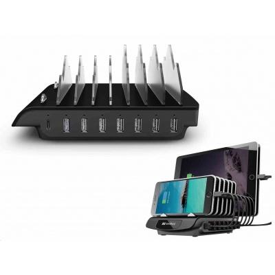 Sandberg nabíjecí stanice Multi, 1x USB-C 30W, 7x USB-A, černá