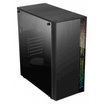 1stCOOL skříň RAINBOW 1, Midi Tower, AU, USB 3.0, bez zdroje, Black, RGB LED strip
