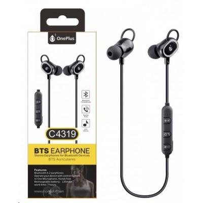 PLUS Bluetooth stereo sluchátka C4319 s mikrofonem a ovládáním, černá