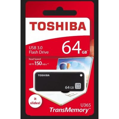 TOSHIBA Flash Disk 64GB U365, USB 3.0, černá