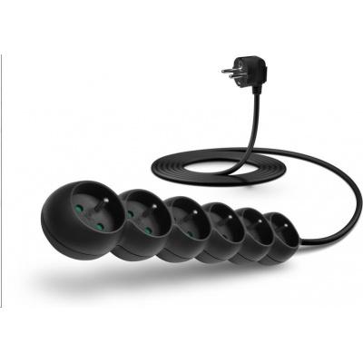CONNECT IT prodlužovací kabel 230 V, 6 zásuvek, 3 m, bez vypínače (černý)