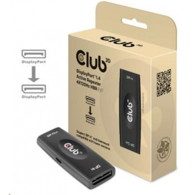 Club3D Adaptér aktivní DisplayPort 1.4 4K120HZ HDR (F/F), černá