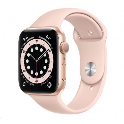 APPLE Watch Series 6 GPS, 44mm zlaté hliníkové pouzdro + pískově růžový sport řemínek