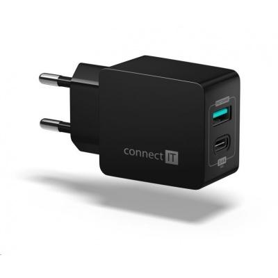 CONNECT IT Fast Charge nabíjecí adaptér 1xUSB-A + 1xUSB-C, 3,4A, černá
