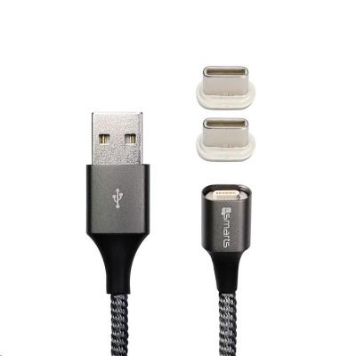 4smarts magnetický nabíjecí kabel GRAVITYCord 2.0, 2x konektor USB-C, 1 m, šedá