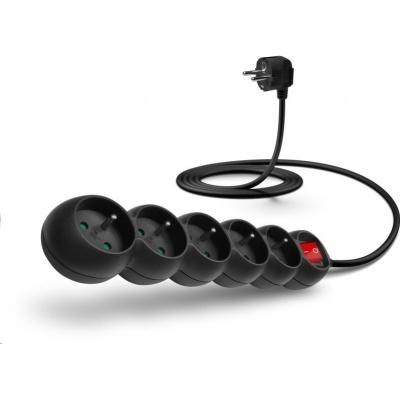 CONNECT IT prodlužovací kabel 230 V, 5 zásuvek, 2 m, s vypínačem (černý)