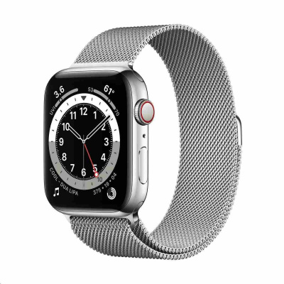 Apple Watch Series 6 GPS + Cellular, 44mm Silver Stainless Steel Case + Silver Milanese Loop
