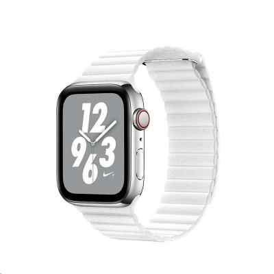COTEetCI kožený magnetický řemínek Loop Band pro Apple Watch 38 / 40mm bílý