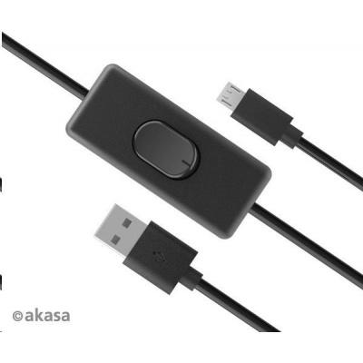 AKASA kabel USB-A 2.0 na Micro-B, napájecí kabel se switchem (pro Raspberry Pi 3 / 2 /1 / Zero), 1.5m